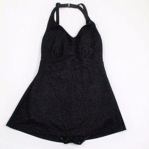 Vintage 70s  1 Piece Modest Skirt Swim Suit C+ Cup